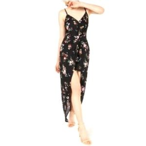 MATERIAL GIRL FLORAL BLACK HIGH LOW DRESS SIZE XS